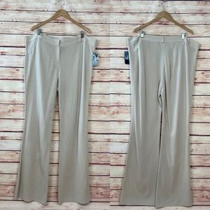 Misook Collection Wide Leg Knit Pants Tan 16 NWT